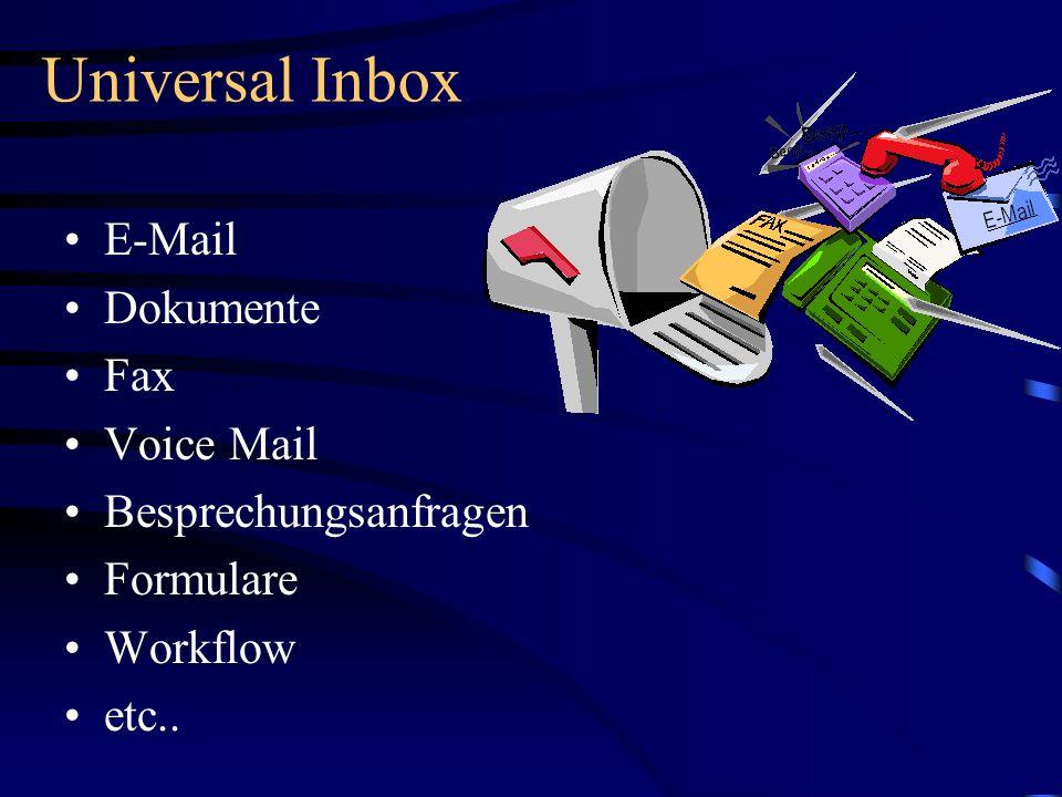 Universal Inbox E-Mail Dokumente Fax Voice Mail Besprechungsanfragen