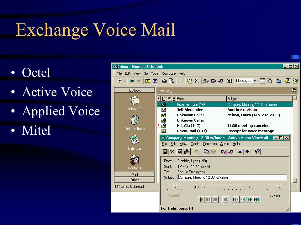 Exchange Voice Mail Octel Active Voice Applied Voice Mitel