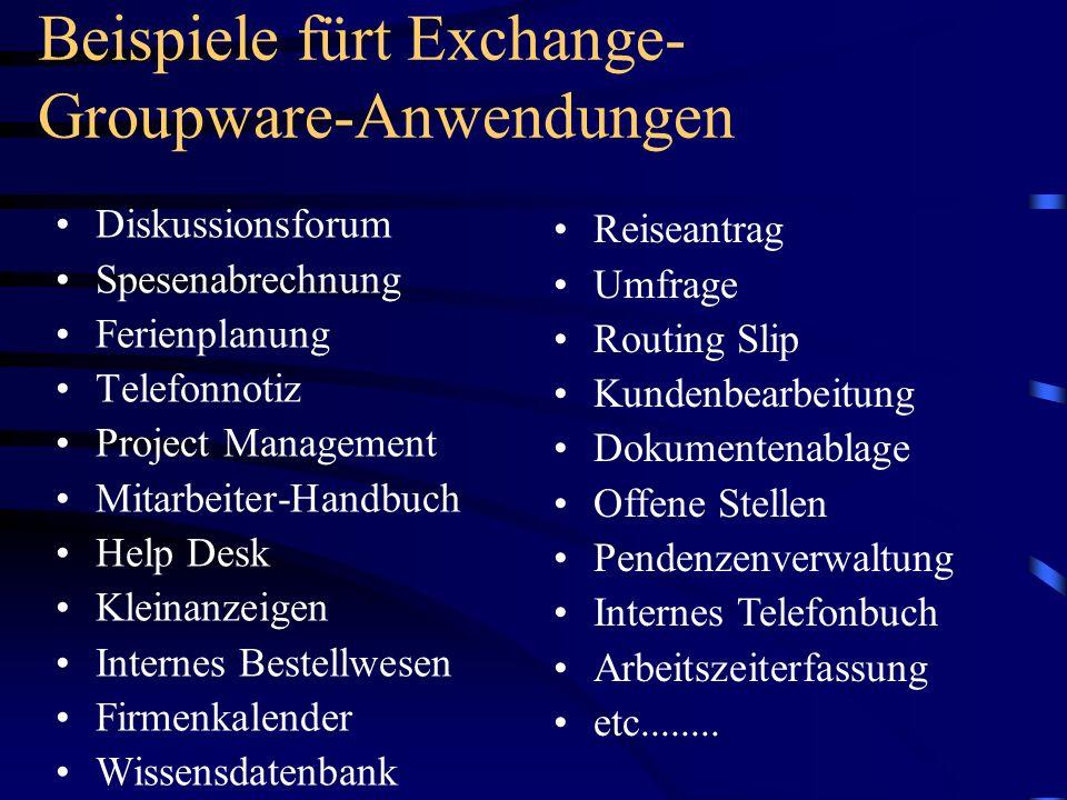 Beispiele fürt Exchange-Groupware-Anwendungen