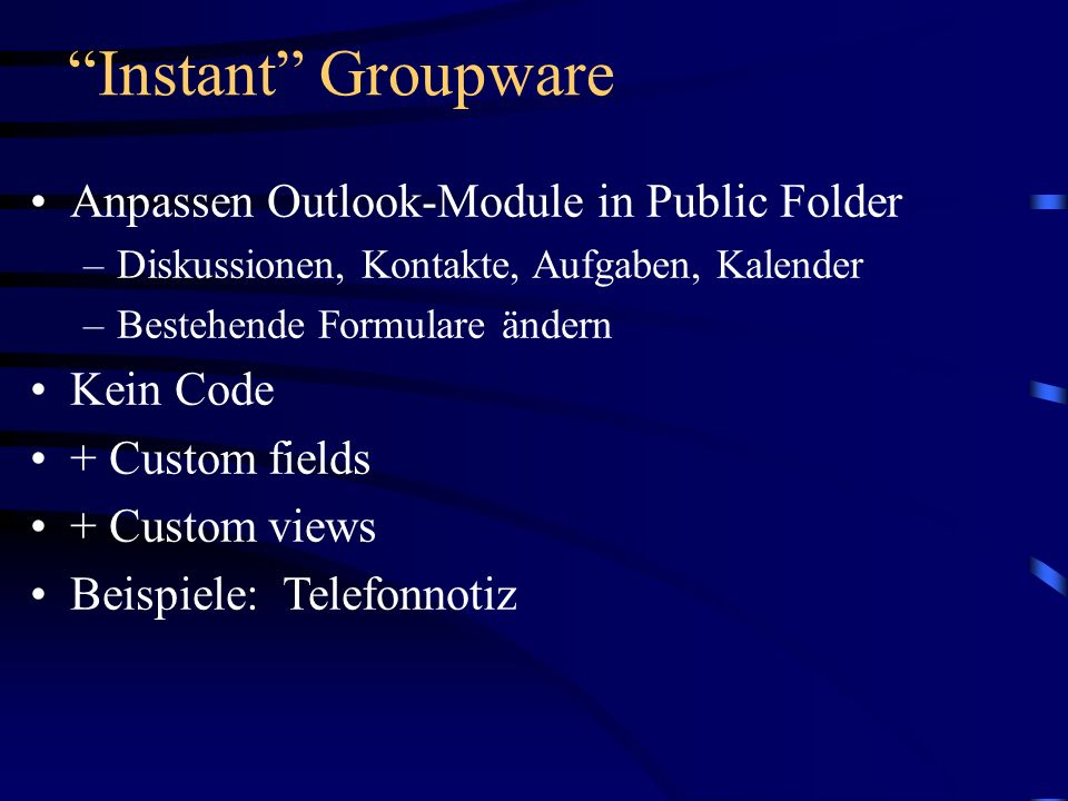 Instant Groupware Anpassen Outlook-Module in Public Folder Kein Code