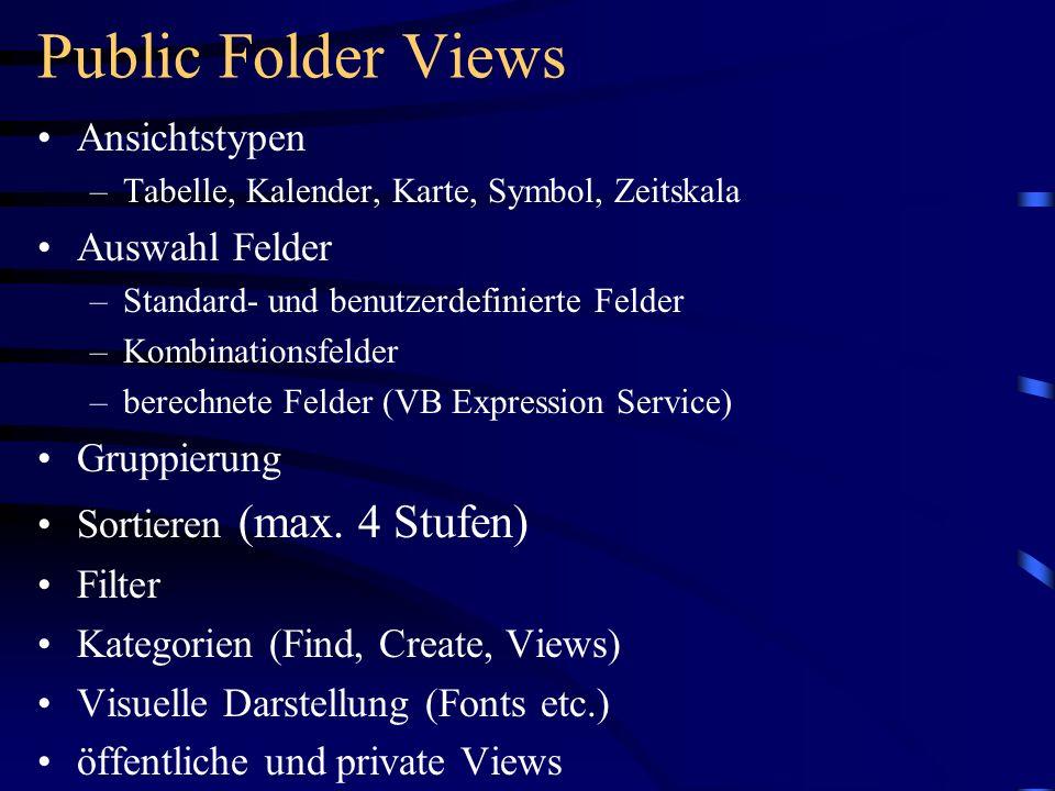 Public Folder Views Ansichtstypen Auswahl Felder Gruppierung