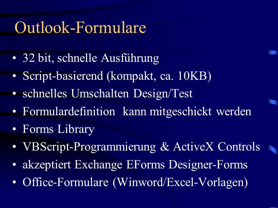 Outlook-Formulare 32 bit, schnelle Ausführung