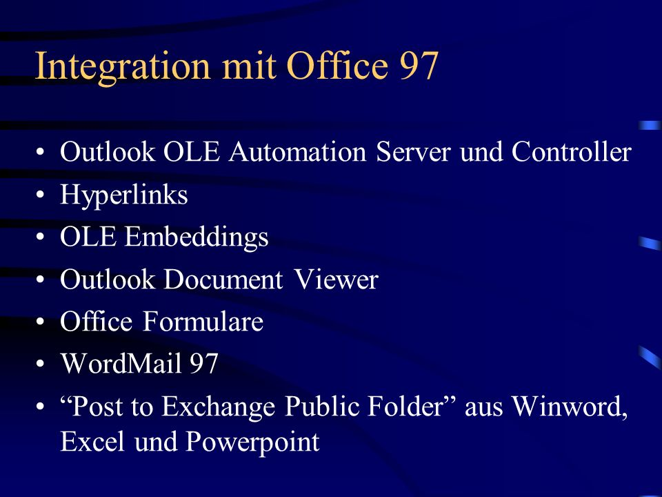Integration mit Office 97
