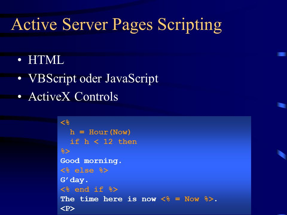 Active Server Pages Scripting