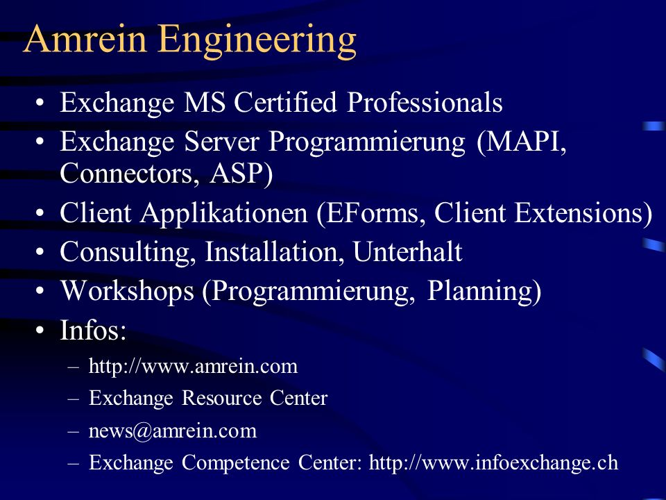 Amrein Engineering Exchange MS Certified Professionals