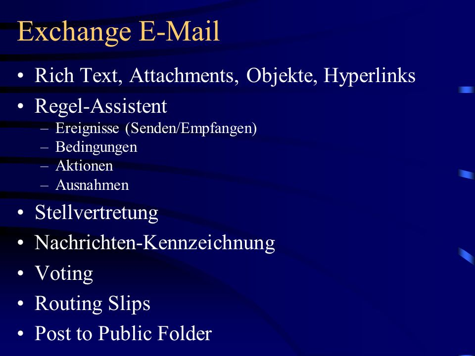 Exchange E-Mail Rich Text, Attachments, Objekte, Hyperlinks