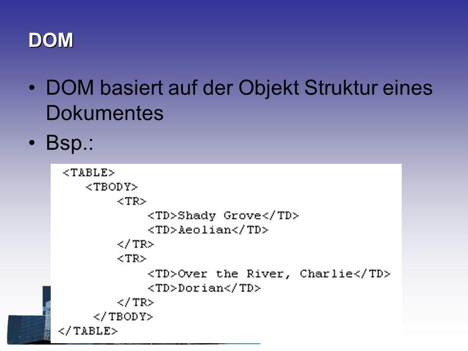 DOM basiert auf der Objekt Struktur eines Dokumentes Bsp.: