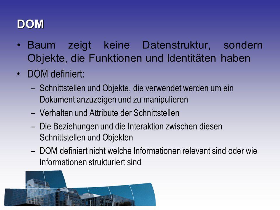 DOM Baum zeigt keine Datenstruktur, sondern Objekte, die Funktionen und Identitäten haben. DOM definiert: