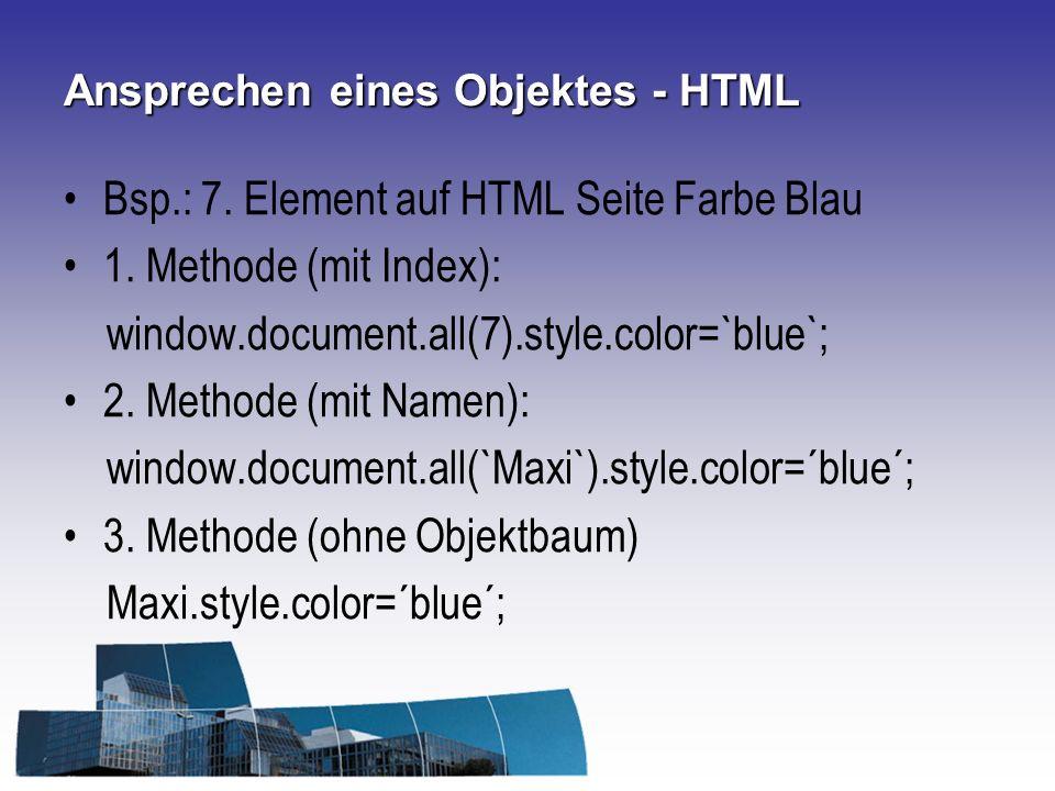 Ansprechen eines Objektes - HTML