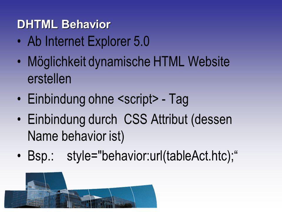 Möglichkeit dynamische HTML Website erstellen