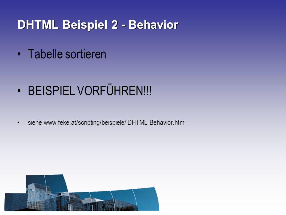 DHTML Beispiel 2 - Behavior