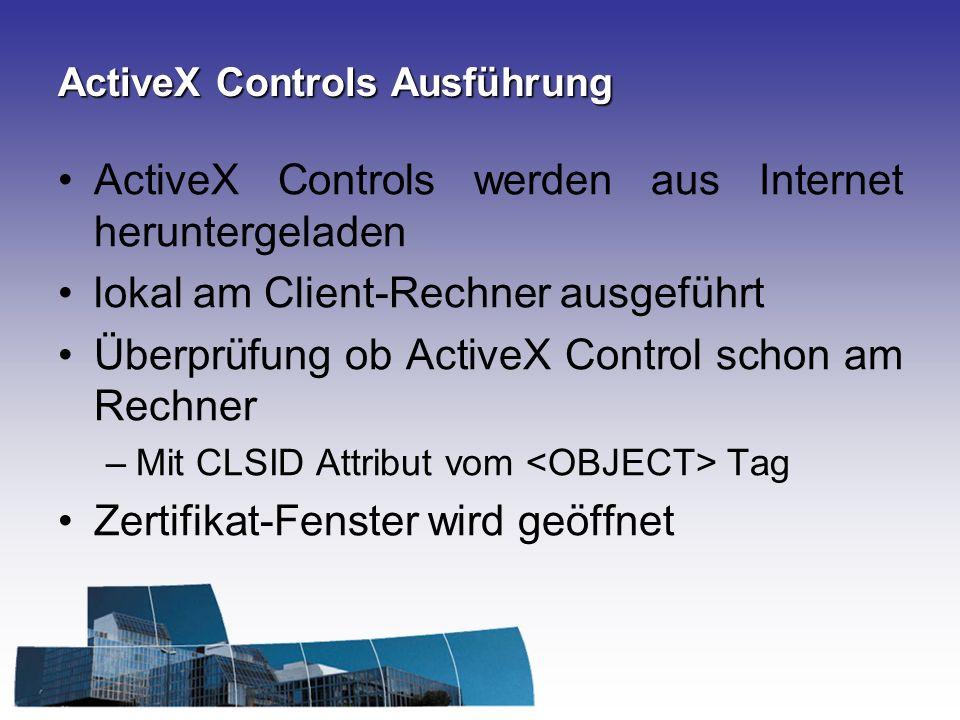 ActiveX Controls Ausführung