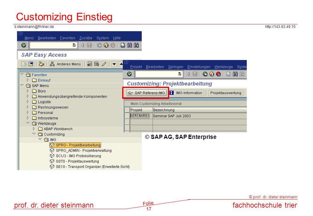 Customizing Einstieg © SAP AG, SAP Enterprise