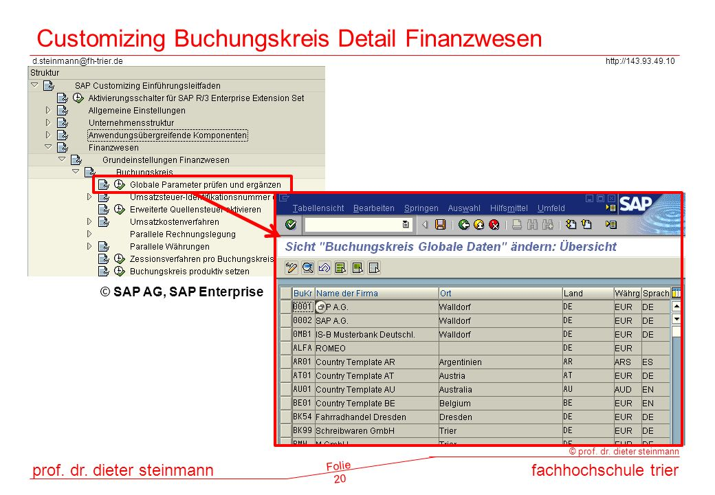 Customizing Buchungskreis Detail Finanzwesen
