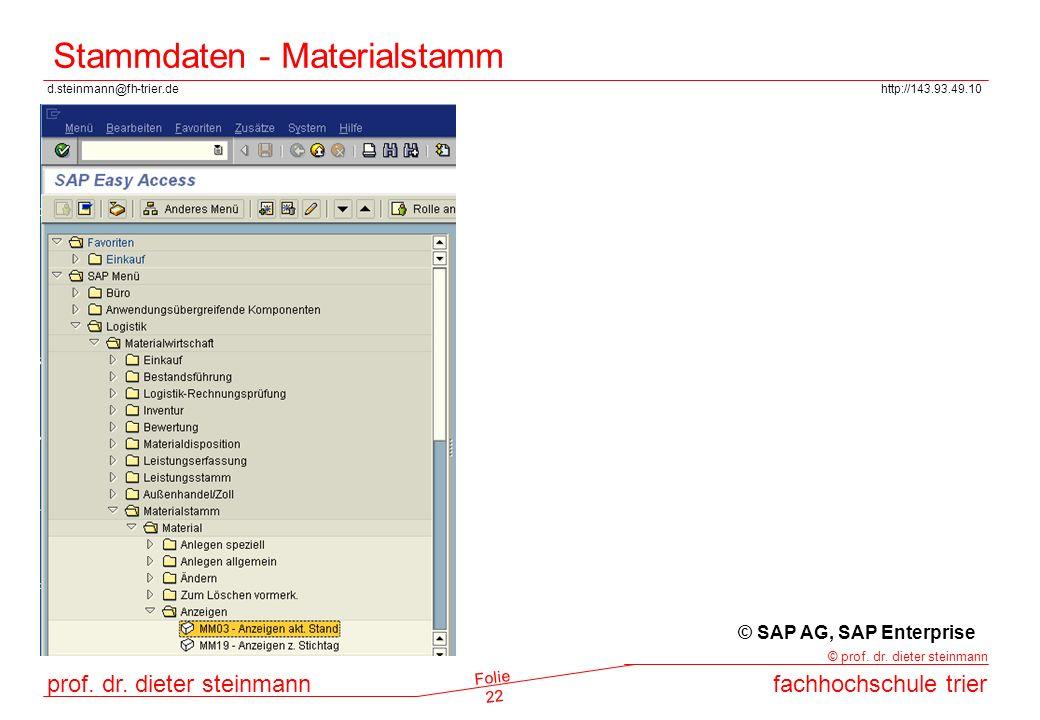 Stammdaten - Materialstamm