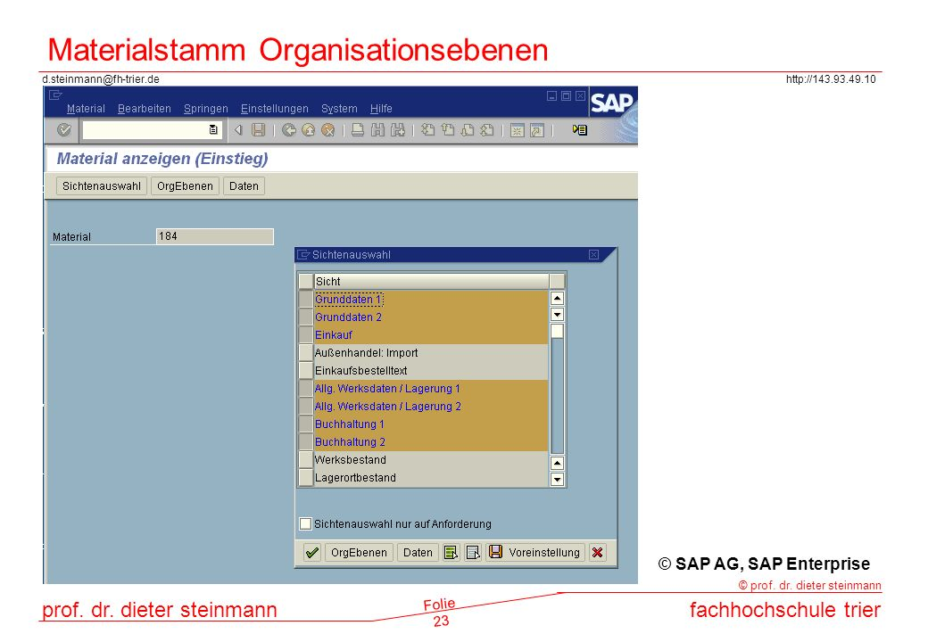 Materialstamm Organisationsebenen