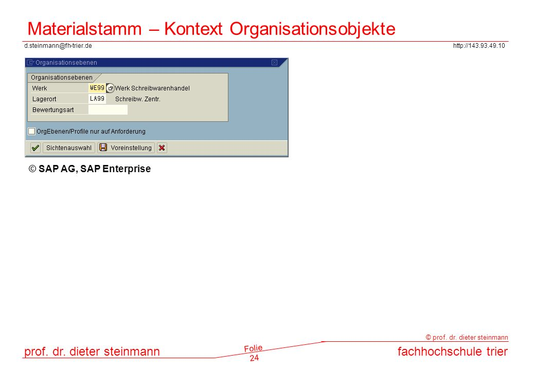 Materialstamm – Kontext Organisationsobjekte