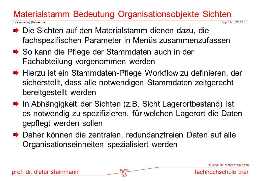 Materialstamm Bedeutung Organisationsobjekte Sichten