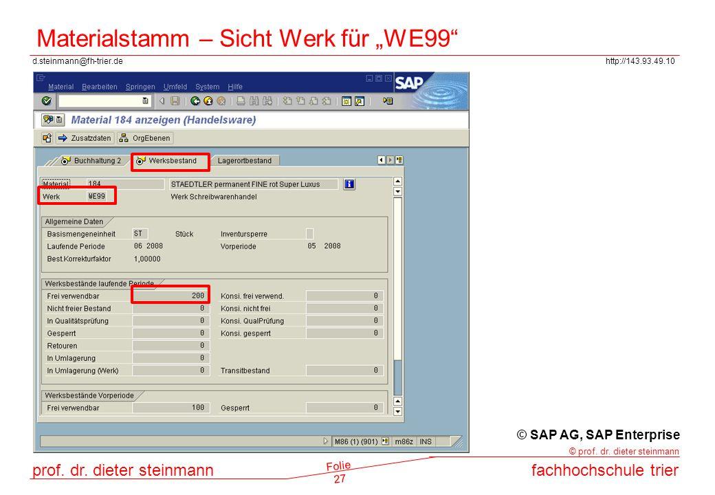 """Materialstamm – Sicht Werk für """"WE99"""