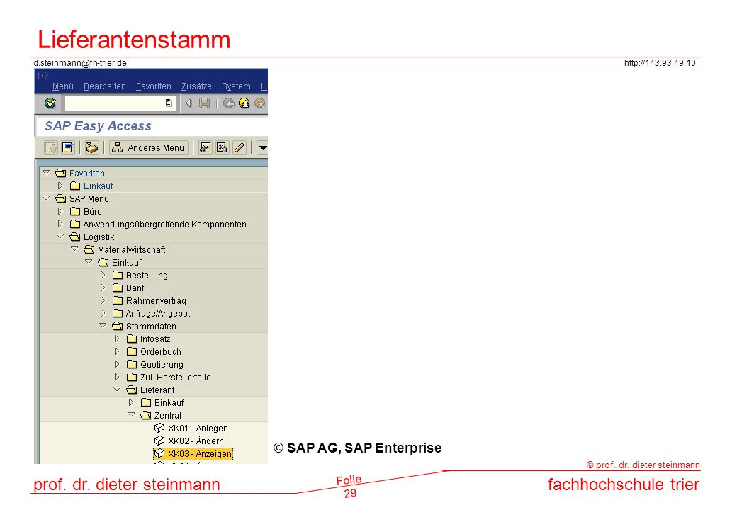 Lieferantenstamm © SAP AG, SAP Enterprise