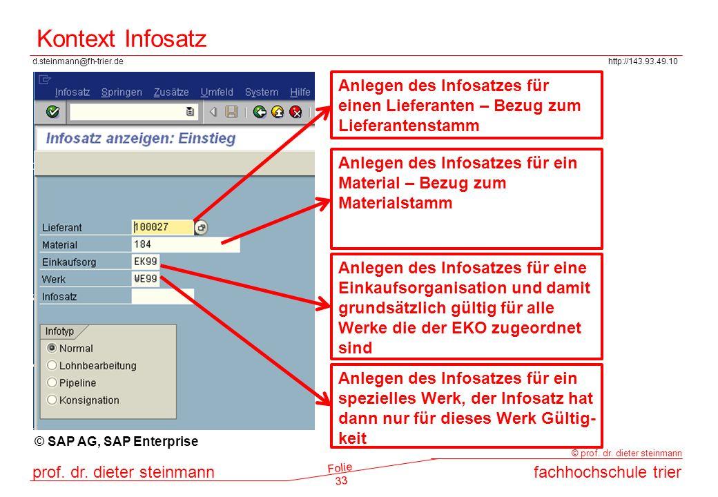 Kontext Infosatz Anlegen des Infosatzes für einen Lieferanten – Bezug zum Lieferantenstamm.