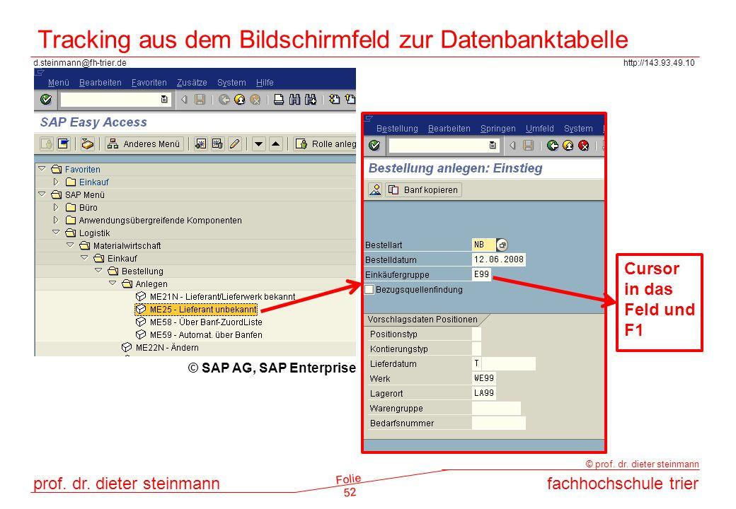 Tracking aus dem Bildschirmfeld zur Datenbanktabelle