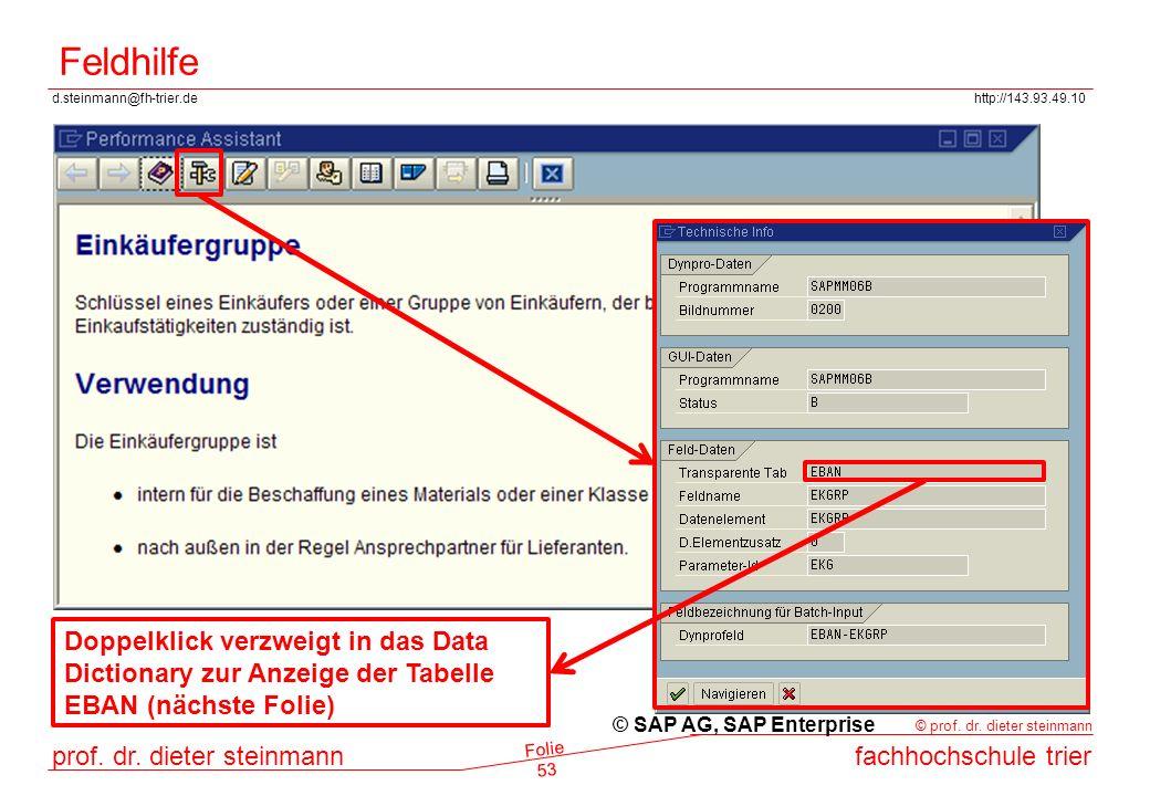 Feldhilfe Doppelklick verzweigt in das Data Dictionary zur Anzeige der Tabelle EBAN (nächste Folie)