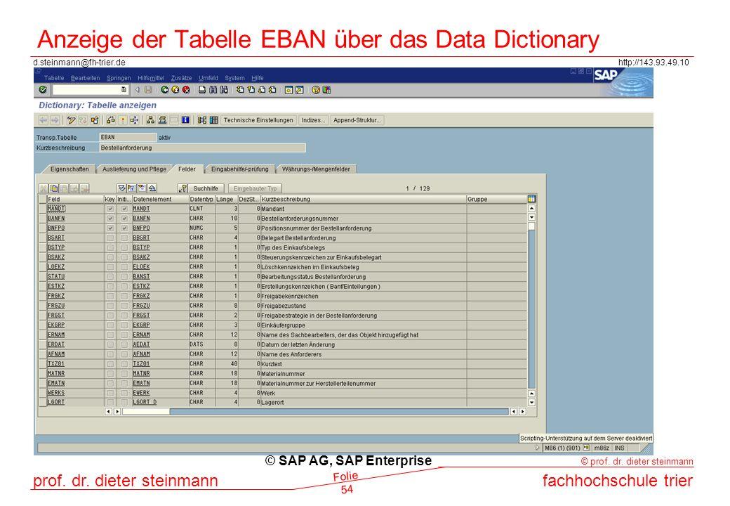 Anzeige der Tabelle EBAN über das Data Dictionary