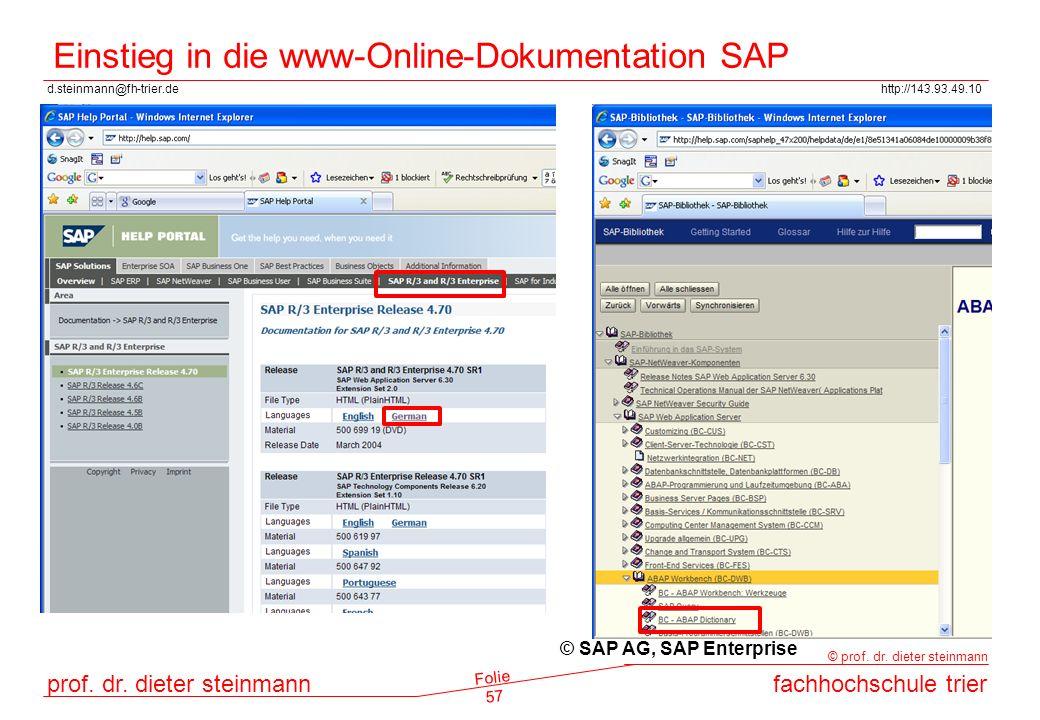 Einstieg in die www-Online-Dokumentation SAP
