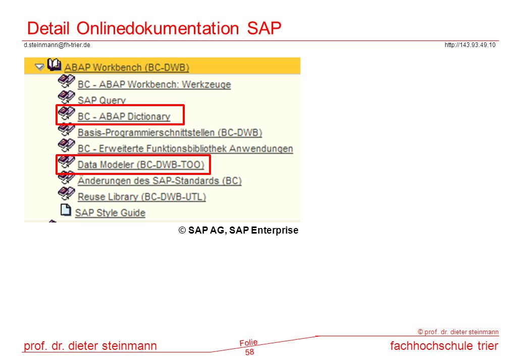 Detail Onlinedokumentation SAP