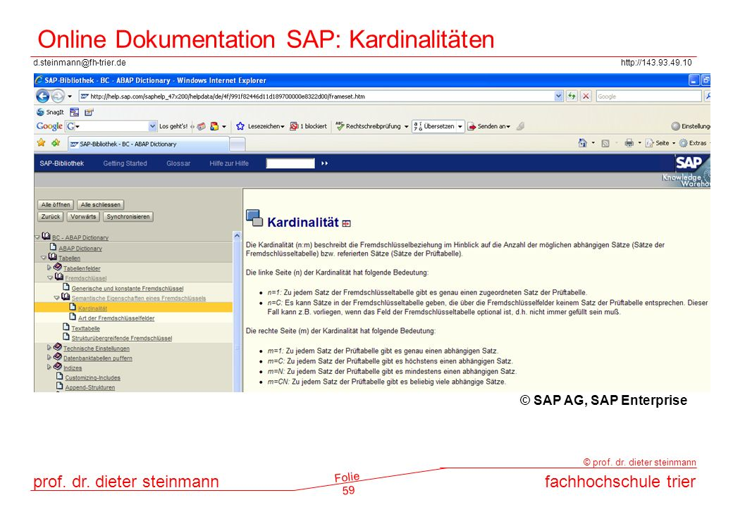 Online Dokumentation SAP: Kardinalitäten