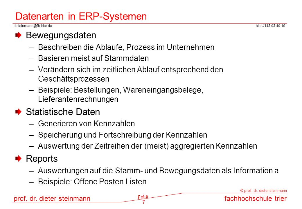 Datenarten in ERP-Systemen