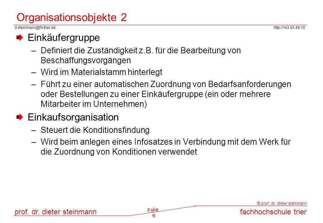 Organisationsobjekte 2