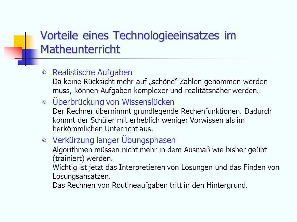 Vorteile eines Technologieeinsatzes im Matheunterricht