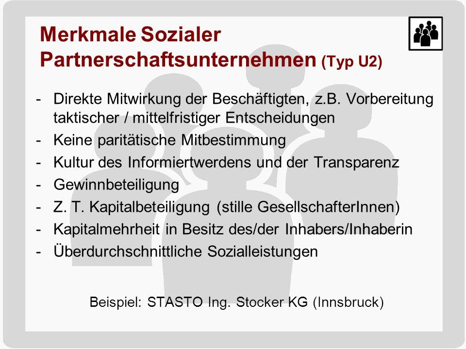 Merkmale Sozialer Partnerschaftsunternehmen (Typ U2)
