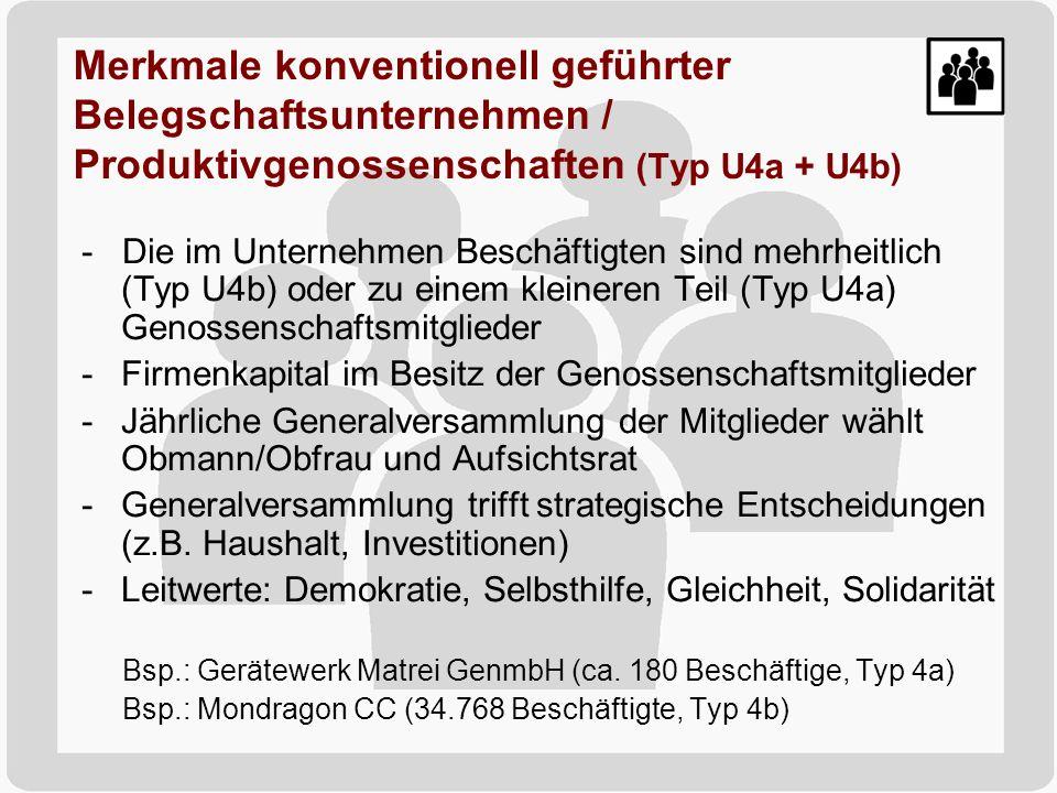 Merkmale konventionell geführter Belegschaftsunternehmen / Produktivgenossenschaften (Typ U4a + U4b)