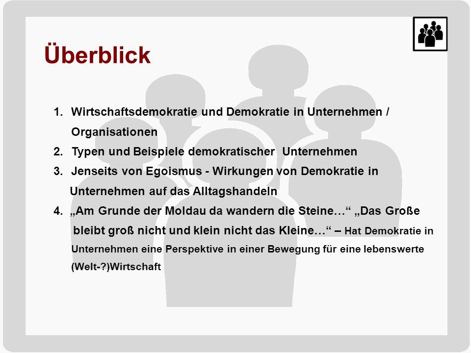 Überblick Wirtschaftsdemokratie und Demokratie in Unternehmen / Organisationen. Typen und Beispiele demokratischer Unternehmen.