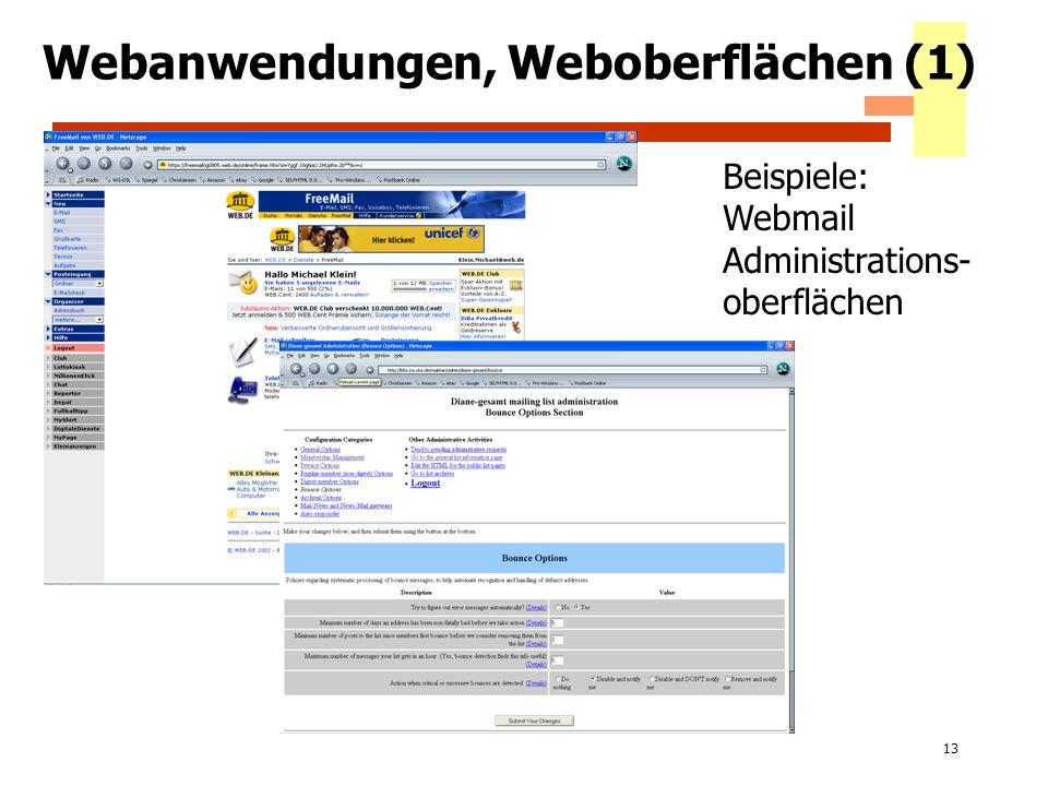 Webanwendungen, Weboberflächen (1)