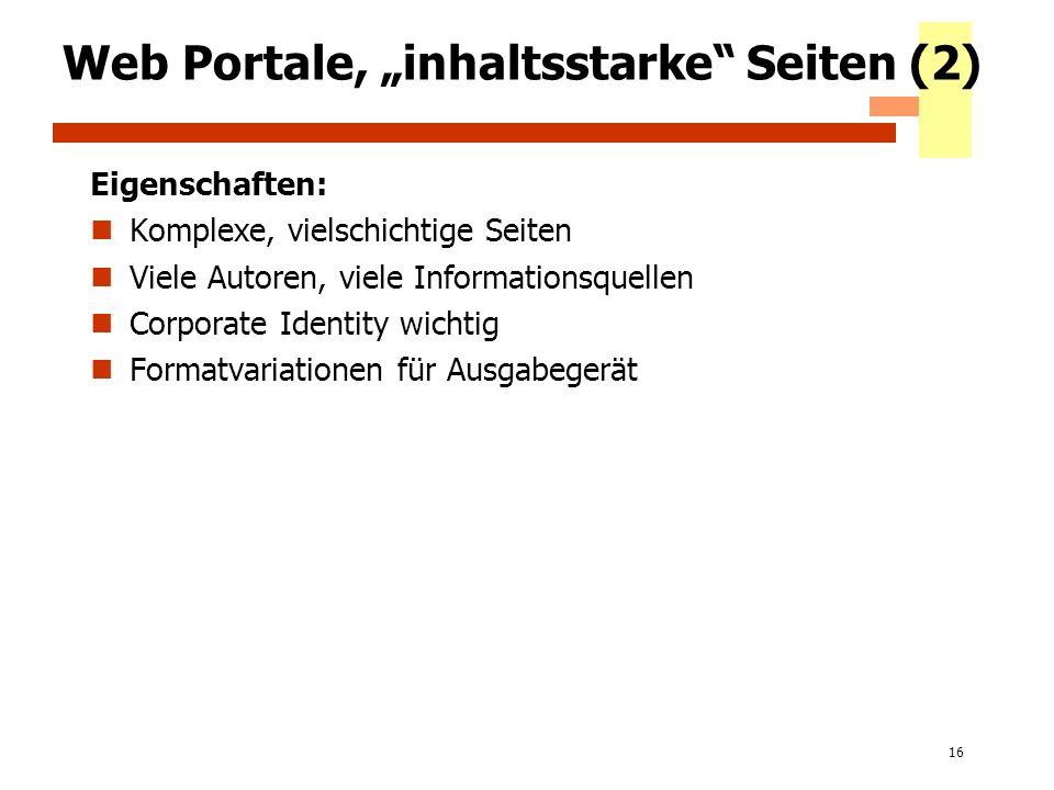 """Web Portale, """"inhaltsstarke Seiten (2)"""