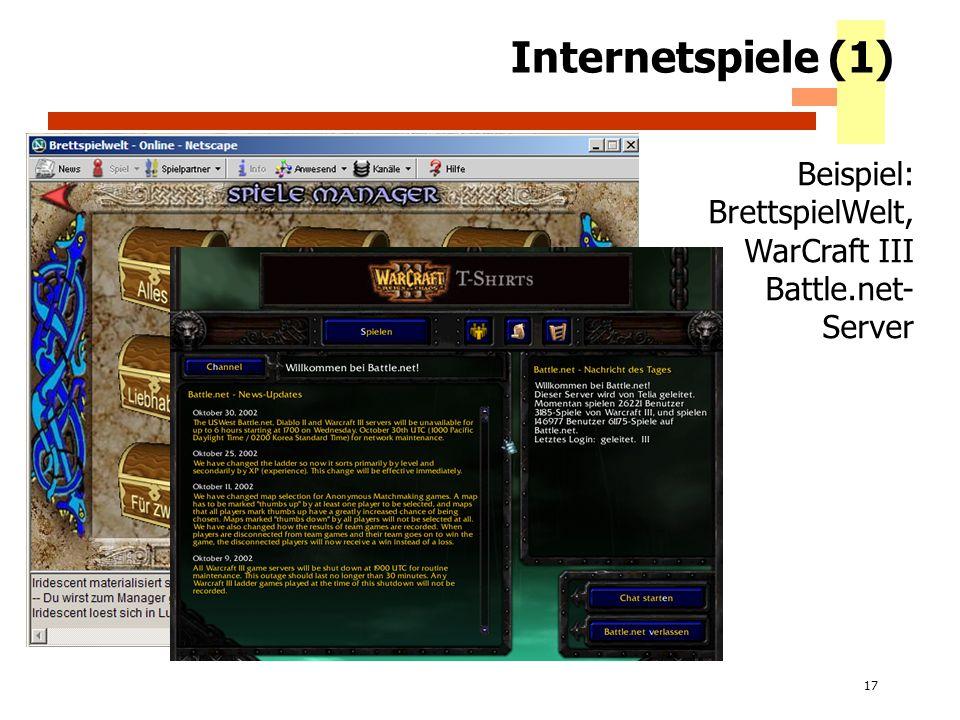 Internetspiele (1) Beispiel: BrettspielWelt, WarCraft III