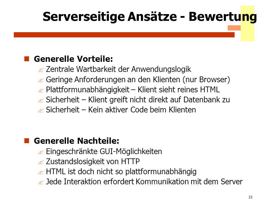 Serverseitige Ansätze - Bewertung