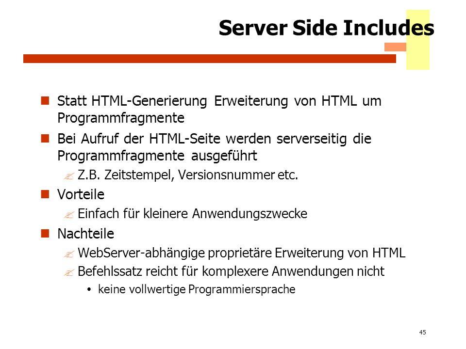 Server Side Includes Statt HTML-Generierung Erweiterung von HTML um Programmfragmente.