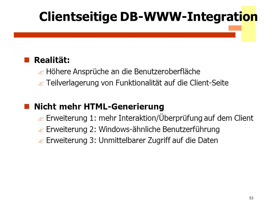 Clientseitige DB-WWW-Integration