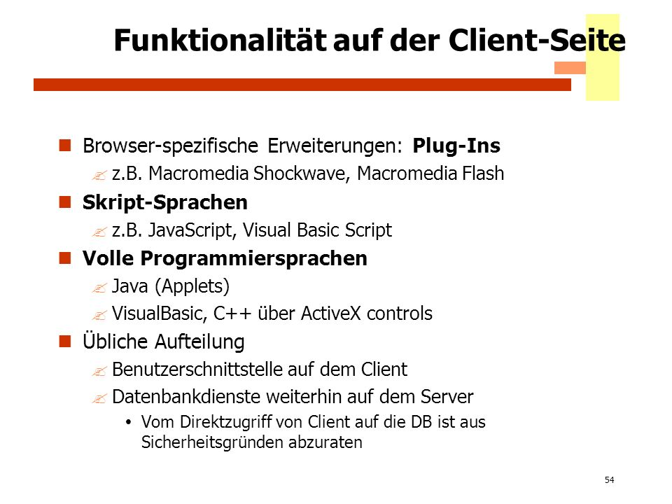 Funktionalität auf der Client-Seite