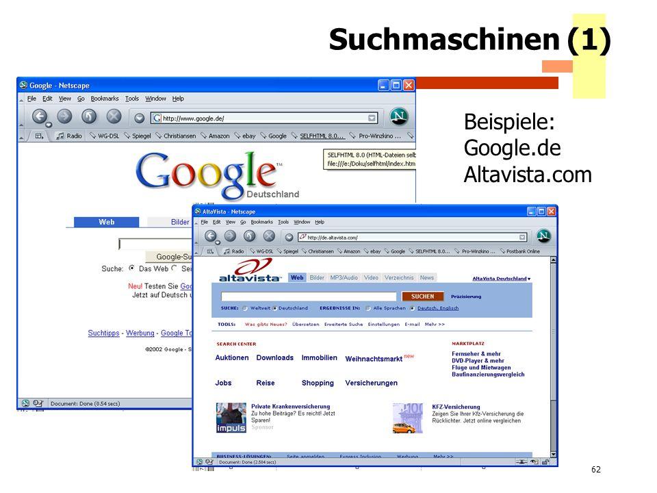 Suchmaschinen (1) Beispiele: Google.de Altavista.com