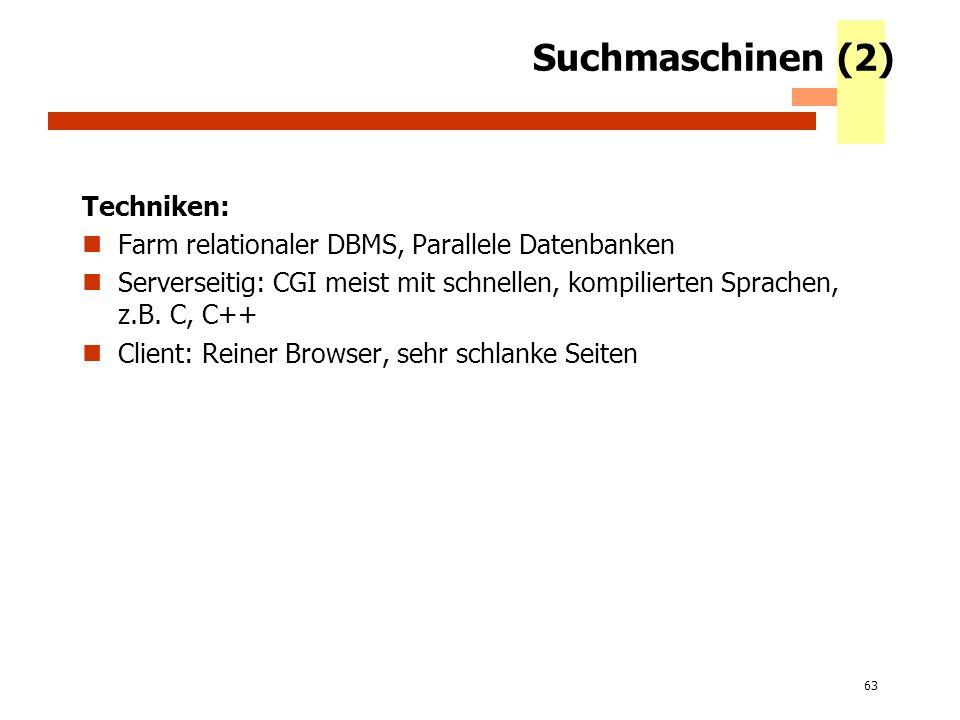 Suchmaschinen (2) Techniken: