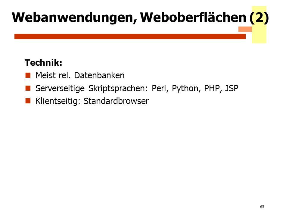 Webanwendungen, Weboberflächen (2)