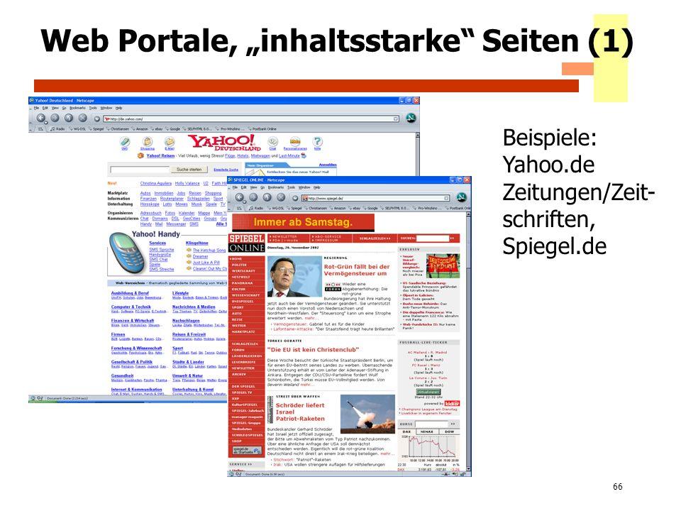 """Web Portale, """"inhaltsstarke Seiten (1)"""