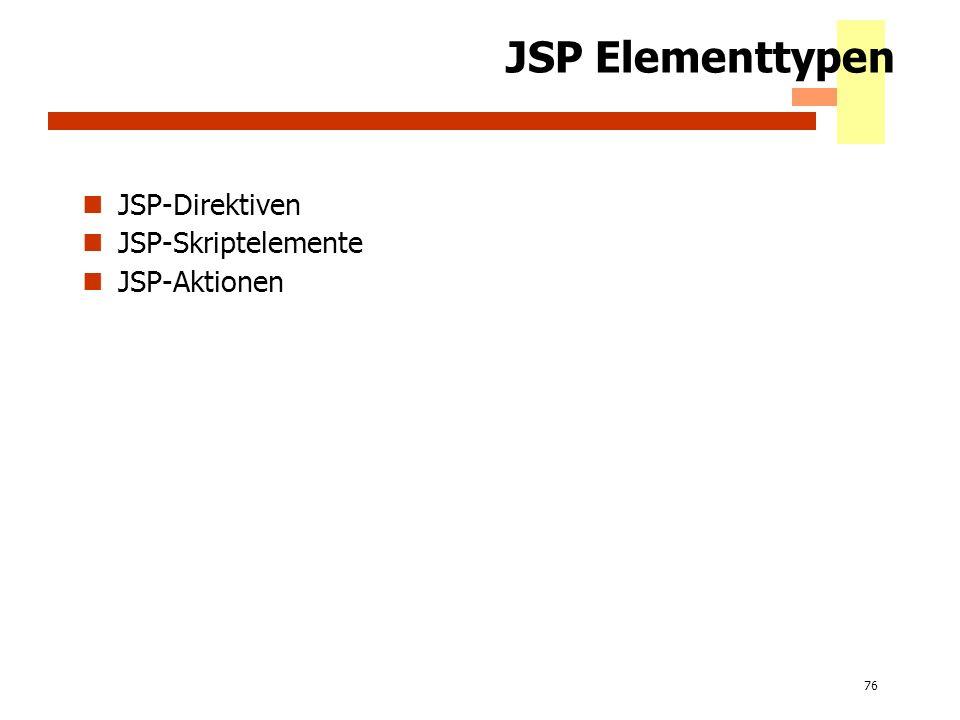 JSP Elementtypen JSP-Direktiven JSP-Skriptelemente JSP-Aktionen 2002