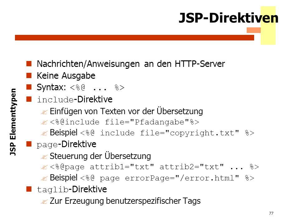 JSP-Direktiven Nachrichten/Anweisungen an den HTTP-Server